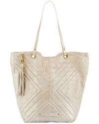 Badgley Mischka Eden 2 Quilted Leather Tote Bag Sand