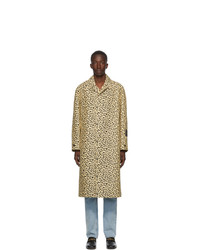 Gucci Beige And Black Jacquard Leopard Coat