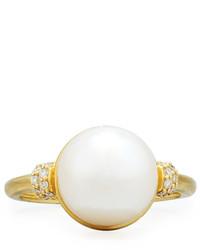 Judefrances jewelry 18k freshwater pearl diamond ring medium 832005