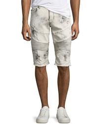 Beige Ripped Denim Shorts