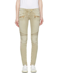 Balmain Beige Distressed Biker Jeans