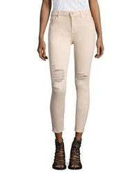 Beige Ripped Skinny Jeans