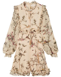 Zimmermann Maples Ruffled Printed Crinkled Silk Georgette Playsuit Cream