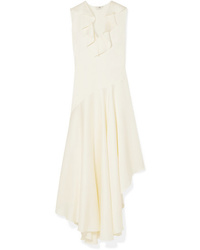 Fendi Asymmetric Ruffled And Satin Midi Dress