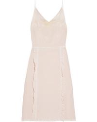Prada Ruffled Chantilly Med Silk De Chine Dress