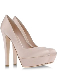 Beige Satin Pumps