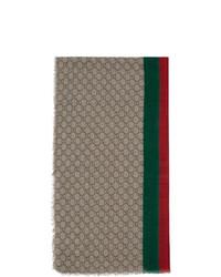 Gucci Beige Wool Gg Web Scarf