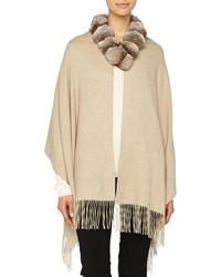 Gorski Detachable Fur Collar Cashmere Stole