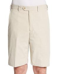 Beige Seersucker Shorts