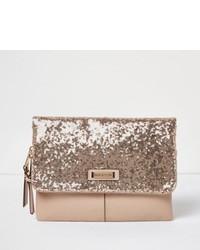 Rose gold sequin fold over clutch bag medium 851495