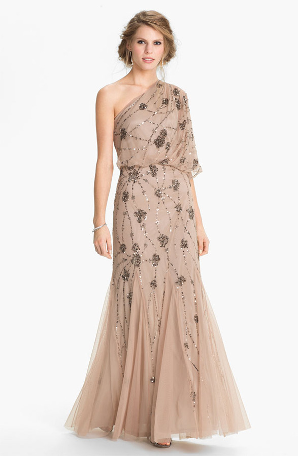 Adrianna Papell Beaded One Shoulder Blouson Gown | Where to buy ...
