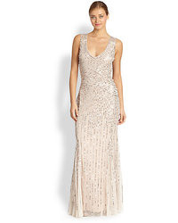 Aidan Mattox Sequin Tulle Sleeveless Gown