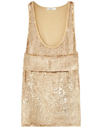 Givenchy Gold Sequined Stretch Silk Top With Front Band