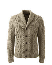 Lands' End Classic Wool Blend Cable Shawl Cardigan Charcoal Heather