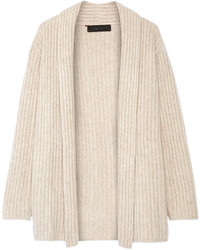 The Elder Statesman Ribbed Cashmere Cardigan Sand