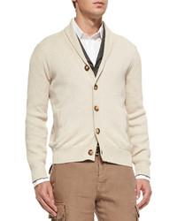 Shawl collar chunky cardigan beige medium 145464