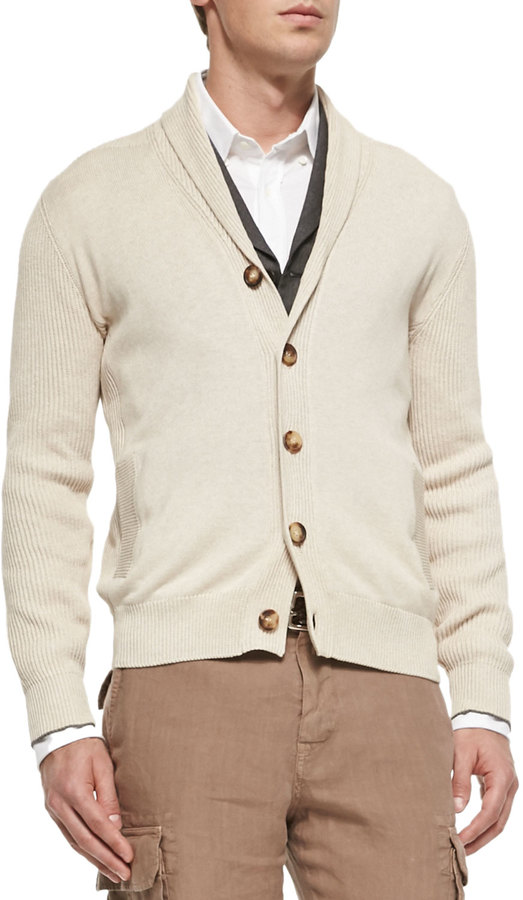 Brunello Cucinelli Shawl Collar Chunky Cardigan Beige | Where to ...