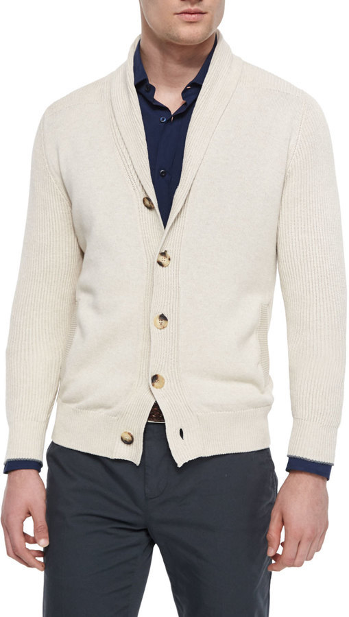 Brunello Cucinelli Shawl Collar Chunky Cardigan Sand | Where to ...