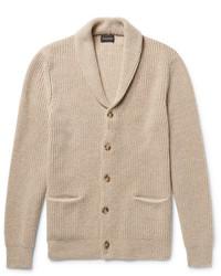 Slim fit shawl collar ribbed merino wool cardigan medium 6860774
