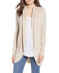 Beige Shawl-Neck Sweater