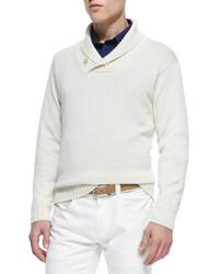 Loro Piana Shawl Collar Pullover Sweater Cream