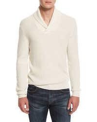 Neiman Marcus Shawl Collar Ribbed Pullover Sweater Vanilla