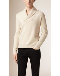 Burberry Shawl Neck Wool Cashmere Sweater