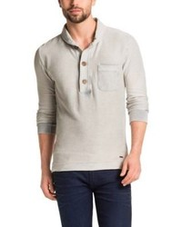 Hugo Boss Woodside Cotton 3 Button Placket Sweater L Natural