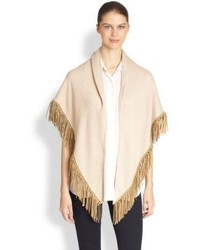 Bajra Cashmere Silk Leather Fringe Shawl