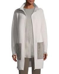 Oversized knit cardigan coat w shearling pockets medium 5146509