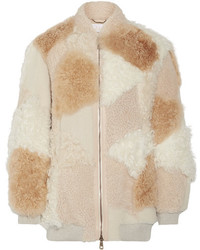 Oversized leather trimmed shearling and alpaca coat beige medium 5083959
