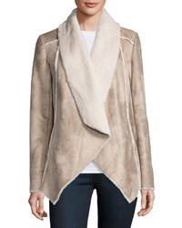 Neiman Marcus Asymmetric Faux Shearling Jacket Beigemulti