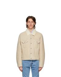 Helmut Lang Beige Shearling Masc Trucker Jacket