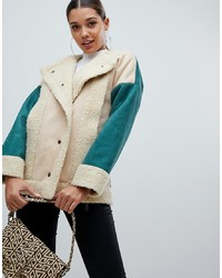 PrettyLittleThing Colour Block Shearling Jacket In Cream