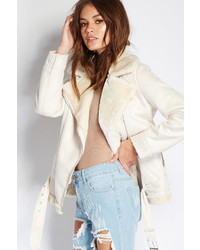 Forever 21 Faux Fur Lined Moto Jacket
