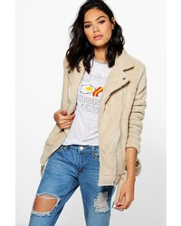 Boohoo Freya Teddy Faux Fur Oversized Biker Jacket