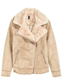 H&M Faux Fur Lined Biker Jacket Beige Ladies