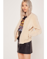 Missguided Faux Shearling Bomber Jacket Cream
