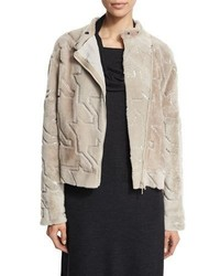 Brunello Cucinelli Shearling Houndstooth Paillette Jacket Grain