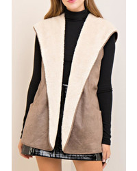 Shearling hooded vest medium 6754458