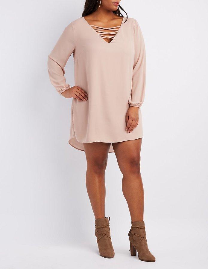 $14, Charlotte Russe Plus Size Lattice Shift Dress