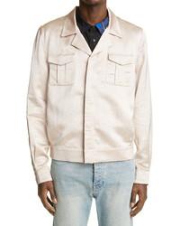 Saint Laurent Flamme Satin Military Jacket