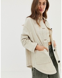 ASOS DESIGN Linen Jacket With Contrast Stitch Detail