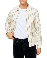 Topman Pinstripe Button Up Shirt Jacket