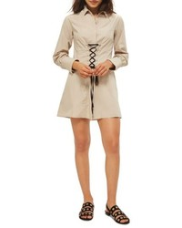 Topshop Corset Poplin Shirtdress