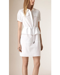Burberry Peplum Detail Cotton Shirt Dress