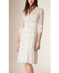 Burberry Tiered Cotton Shirt Dress