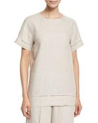Linen fagotting trim blouse beige medium 800401