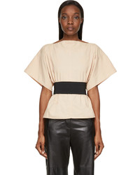 MM6 MAISON MARGIELA Nude Beige Parachute Cloth Wrap Blouse