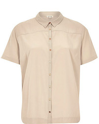 River Island Beige Lightweight Short Sleeve Shirt